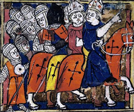 Crusaders go to war. Bishops lead soldiers in armour during the invasion of Palestine. Early 14th. century